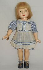 Beautiful Vintage Effanbee American Child Dewees Cochran Doll Blue Gingham Shoes