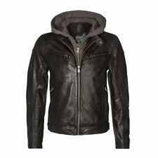 Mauritius Men's BIKO Motorcycle Leather Jacket Detachable Hood
