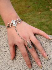 Fashion Unique Silver Bracelet Bangle Slave Chain Link Finger Ring Hand Harness