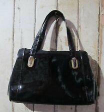 Handbag Black Patent style Bag 60s Vintage Faigen 2 top handles shiny Vegan Chic