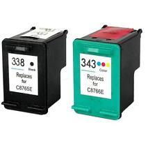 PACK 2 CARTUCHOS COMPATIBLES DE TINTA PARA HP 338 Y 343 XL C8766EE C8765EE