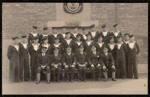 WW2 HOWE BATTALION AT BARRACKS BRITISH ROYAL NAVY REAL PHOTO POSTCARD SAILORS