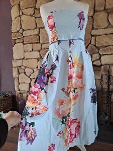 Asos Blue Floral Strapless Dress Size 10 BNWT