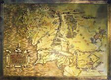 The Lord Of The Rings / The Hobbit Metallic Map Of Middle Earth Poster / Print