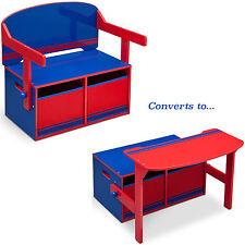 NEW DELTA CHILDREN BLUE / RED CONVERTIBLE BENCH / DESK / TOY STORAGE BOX
