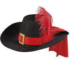 MUSKETIER HUT d`Artagnan schwarz-rot mit Feder Musketierhut Federhut Karneval