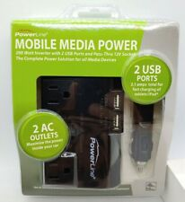 Mobile Media Power 200W Inverter 2 USB Ports 2.1A & 2 AC Outlets PowerLine
