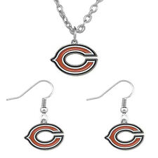 Chicago Bears Team Color Logo Charm Necklace and Earring Gift Set Womens Jewelry