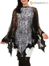 Ladies Spider Web Cape Vampire Halloween Witch Fancy Dress Accessory Womens