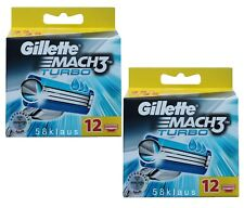 24 Gillette Mach 3 TURBO LAMETTE DA BARBA 24 pezzi in 2x 12er Pack Set in scatola originale