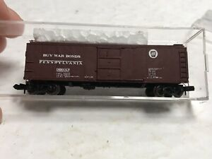 "N SCALE Micro Trains 40' Boxcar Custom Painted Pennsylvania PRR ""Buy War Bonds"""