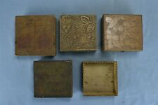 Antique LOT 5 FLEMISH ART PYROGRAPHY VANITY BOXES UNMARKED FLOWERS CHERRIES 9721