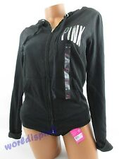 """Victoria's Secret ** PINK ** Hoodie Black Sequin """"Love Pink CHICAGO"""" XSMALL NWT"""