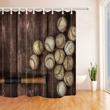 Baseball On The Wooden Waterproof Bathroom Fabric Shower Curtain  & 12 Hooks