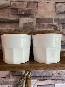 2 X Jasper Conran White Ceramic Kitchen Canisters With Cork Lids