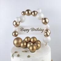 Luxury Gold Foam Balls Cake Topper Happy Birthday Cupcake Dessert Party Decor