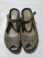 Jambu Journey Peep Toe Cut Out Wedge Leather Sandals Women's Sz 7 M Gray Shoes