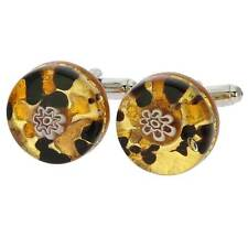 GlassOfVenice Murano Glass Venetian Classic Round Cufflinks - Topaz Gold