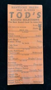 1953 Kentucky Derby Tod's Racing Selections Sheet Pick All Winners Ky Derby