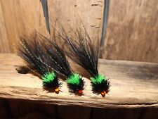 3X BLACK & GREEN T15 VIVA CATS FLY FISHING TROUT FLIES SIZE 8 KAMASAN