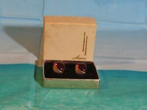 Vintage Anson Gold Tone Cufflinks with a Red Bead Mint in Box