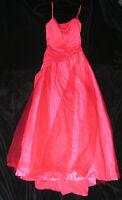 Women's Dress Jrs Sz 11 Long Princess Ball Gown Prom Glitter Spaghetti Strap Red