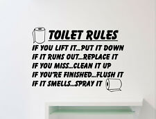 Toilet Rules Wall Decal WC Sign Vinyl Sticker Bathroom Decor Home Poster 48me