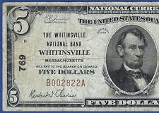 MA  1929  $5  ♚♚ WHITINSVILLE, MASSACHUSETTS ♚♚  HARD TO FIND
