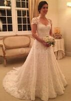 Short Sleeve Natural Lace Wedding Dress Appliques A Line Bridal Gown Bride Dress