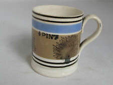Antique MOCHAWARE PINT MUG with Seaweed Decoration