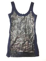 French Connection UK Womens 10 Navy Blue Sequin Dress Mini Short Length Cocktail