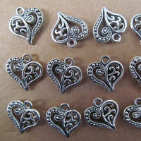 PJ029 20pc Hollow out Tibetan Silver Heart-shaped Dangle Charm Beads 14*15mm