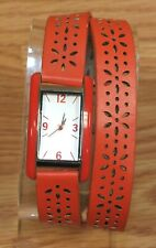 Unbranded Red Faux Leather Wrap Around Ladies Wrist Watch **READ**