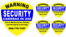 5 PACK SECURITY SYSTEM STICKER DECALS sticker decal video cctv camera alarm cell