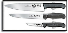 Victorinox 3 Piece Chef's Knife Set Black Fibrox Pro Handle With Clam Pack 46892
