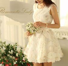 Vestido Corto Vestido Evento Blanco Encaje Novia Dama 3128