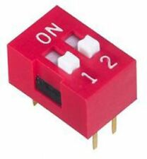Pack 2 2 Way Through Hole DIP Switch DPST, Recessed Actuator