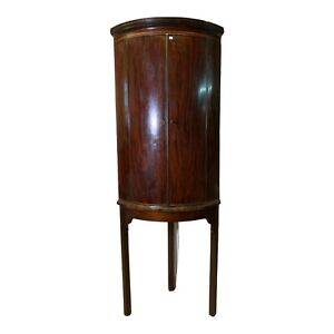 Antique Solid Dark Wood Bow Fronted Corner Cabinet On Stand