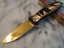 Timber Wolf Assisted Open Black Gold Chrome Howling Moon Tactical Pocket Knife