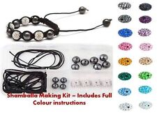 Clay Pave Crystal Shamballa Bracelet Making Kit WITH INSTRUCTIONS & DISCO Beads