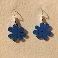 FUNKY BLUE WOOD FLOWER DROP earrings SILVER PL RETRO 60'S 70'S FLOWER POWER S