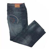 Lambretta Straight Mens Blue Zip Fly Dark Wash Cotton Denim Jeans Size 46/31