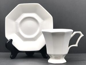 """Nikko """"CLASSIC COLLECTION"""" White Octagonal Saucer & Footed Cup Set ~ MINT"""