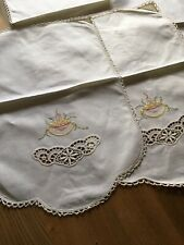 Vintage linen arm chair sofa head covers protectors embroidery set
