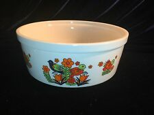 Royal Crown Porcelain Ovenware Casserole PARADISE style Mod flower bird design