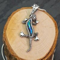 Silver Plated Blue And Green Shades Abalone Paua Gecko Lizard Pendant Necklace