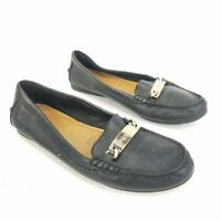 """COACH """"Olive"""" Pebble Grain Black Leather Loafer Shoes Moccasin Womens Size 8 B"""