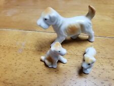 "Vintage 2 3/4"" Ceramic Figurine Terrier Dog and 2 puppies Occupied Japan"