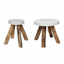 Side Table Teakwood Beton Round Stone Wood Coffee White Garden Natural Solid