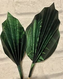 2 Tropical Green Leaf Palm Spears Cake Decoration , Cake Topper